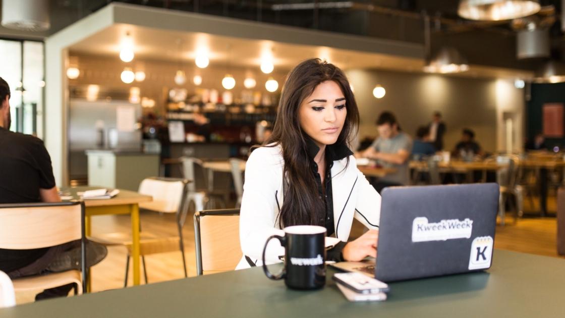 Entrepreneur working inside a WeWork office