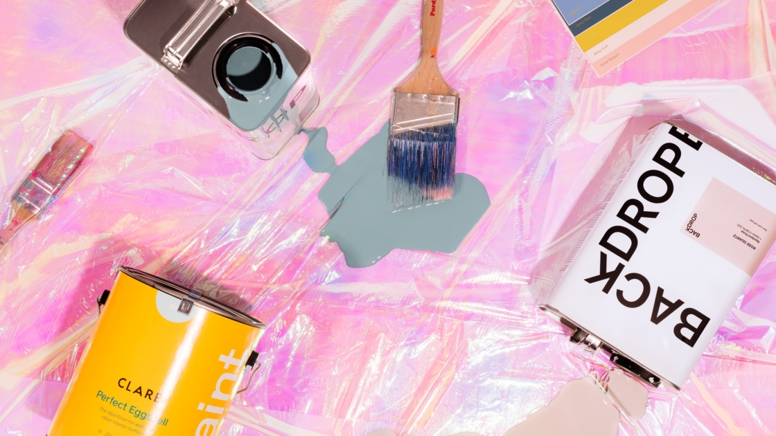 paint cans, drop cloth