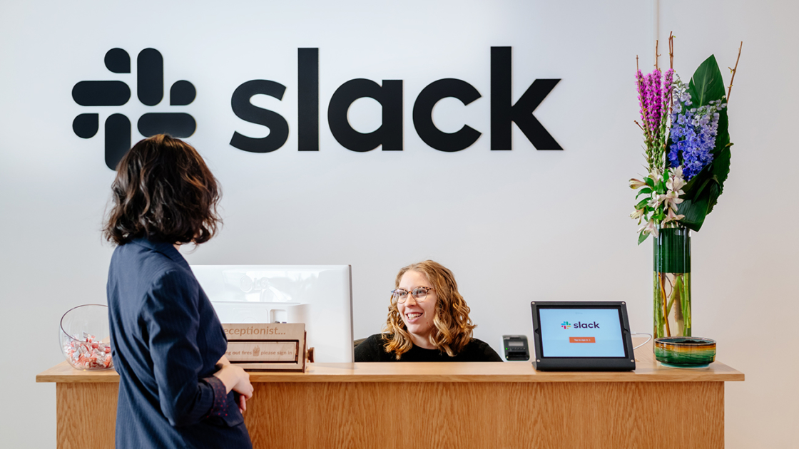 Slack's custom workspace. Photographs by Katelyn Perry/The We Company