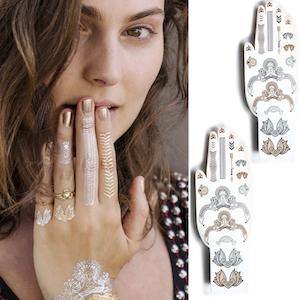 gold-silver-tribal-jewels-temporary-tattoo