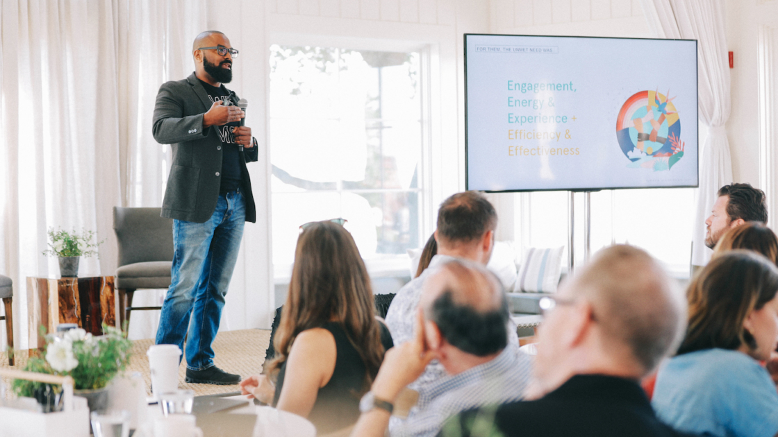 Craig Robinson, global head of Powered by We at WeWork, speaks at Humanize San Francisco. Photo by 20 | 20 Studios