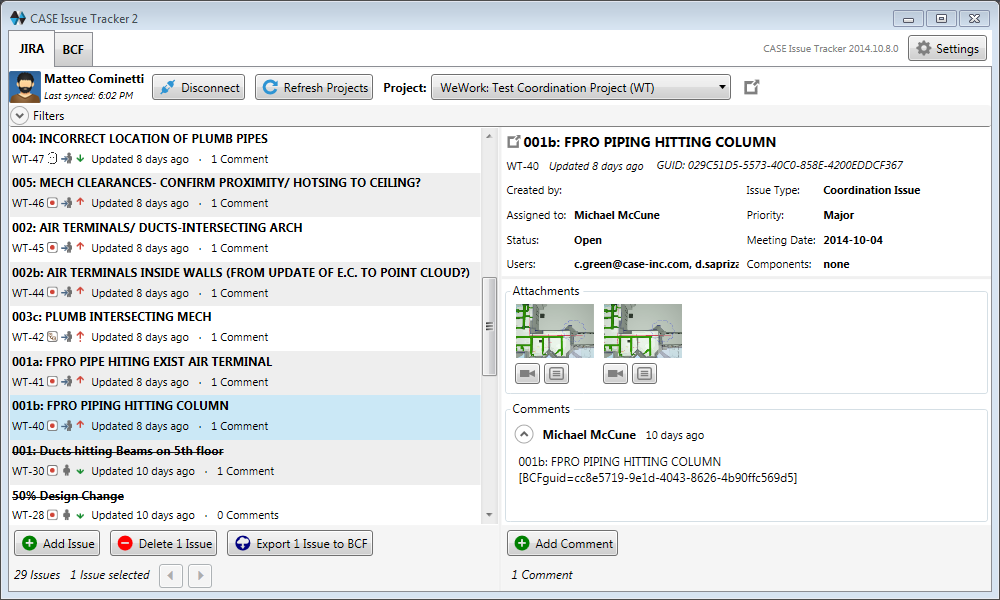01 CASE Issue Tracker main interface