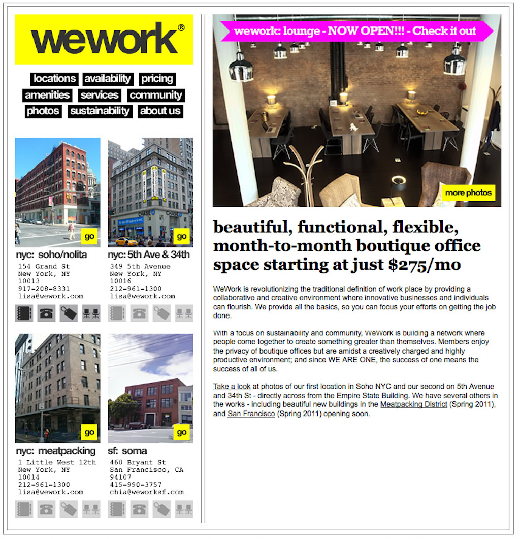 Original WeWork website design from 2009