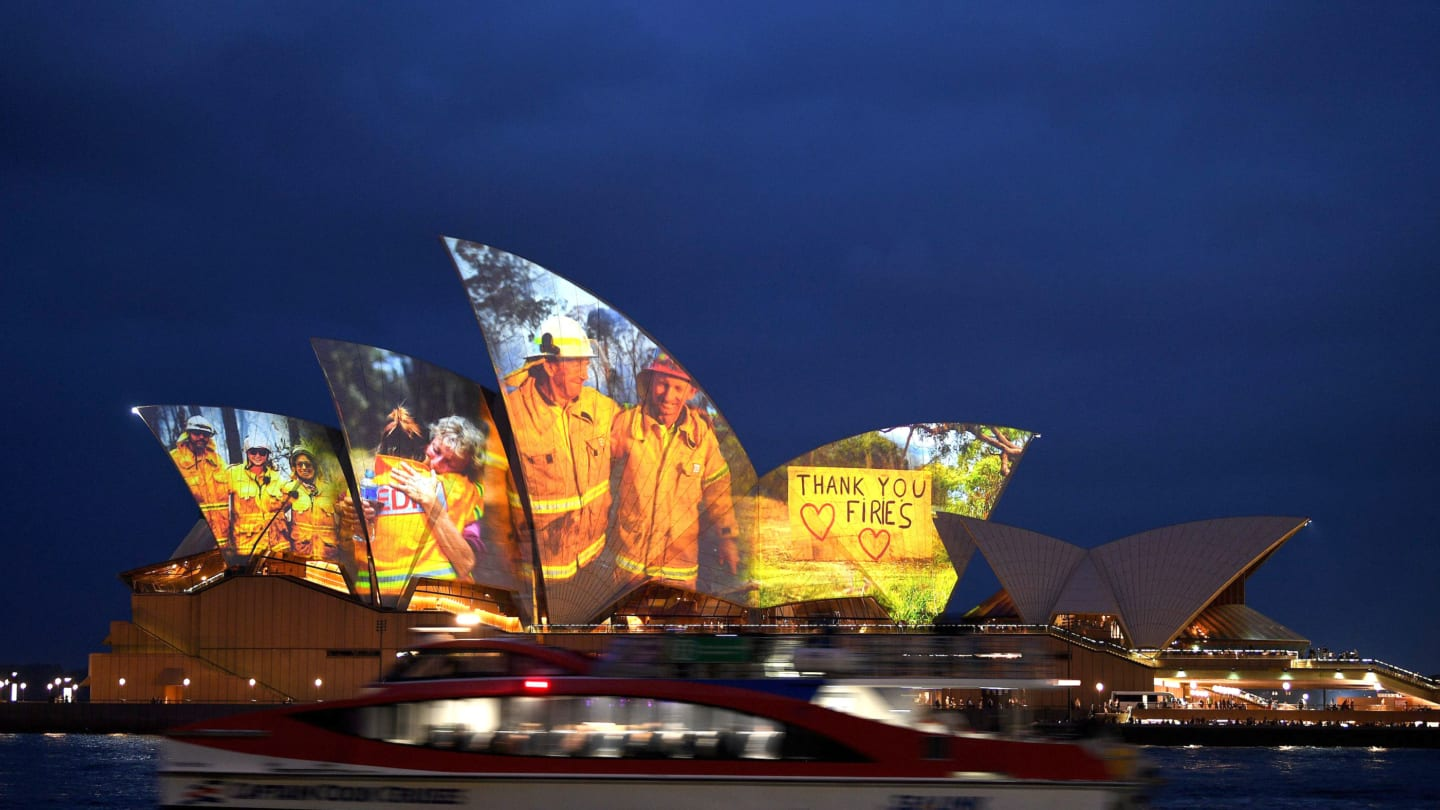 Sydney Opera House were lit on January 11, 2020 with images expressing gratitude to firefighters and volunteers involved in relief efforts.